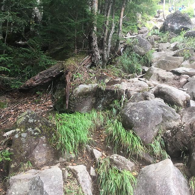 何体zんの登山道急激に岩場
