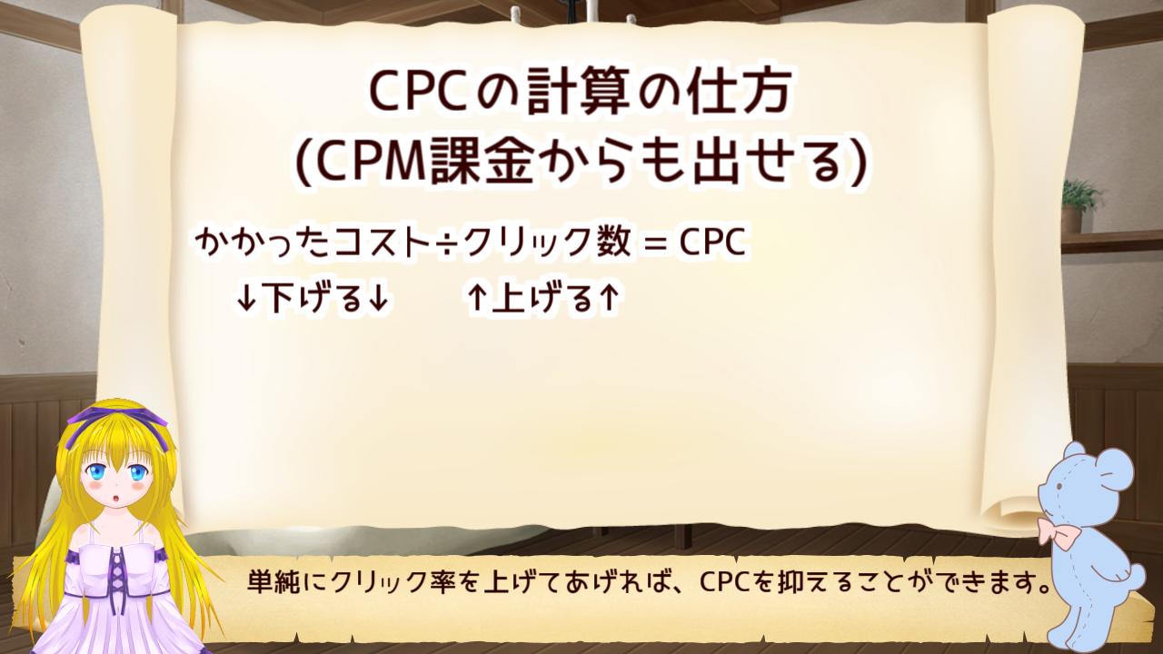 CPM課金からもCPCが算出できるよ